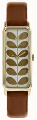 Orla Kiely Pale Gold Rectangular Case Gold Stem Print Dial TA OK2182