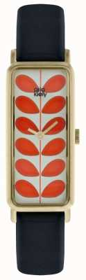 Orla Kiely Pale Gold Rectangular Case Orange Stem Print Dial OK2184