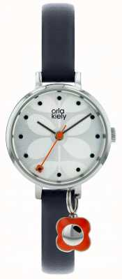 Orla Kiely Silver Case Silver White Sunray Dial Navy Blue Leather Strap OK2185