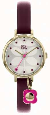 Orla Kiely ivy watch burgandy strap with gold case OK2186