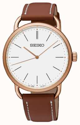 Seiko Women's Recraft Brown Leather Strap Rose Gold Plated Case SUR238P1