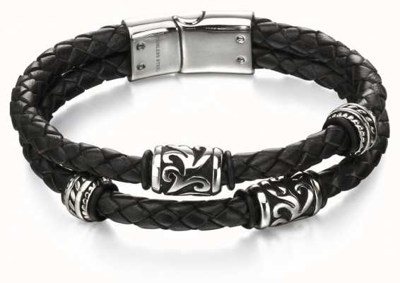 Fred Bennett Double Wrap Black Leather Tribal Bracelet B4980
