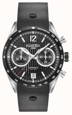 Roamer Superior Chrono II Black Silicone Strap Black Dial 510902415405