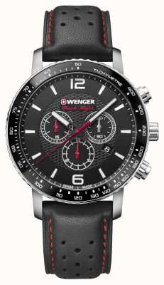 Wenger Mens Roadster Black Night Chrono 45mm Black Dial Leather 01.1843.101