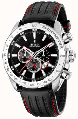 Festina Mens Chronograph Black Leatherstrap Black Dial F16489/5