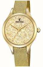 Festina Womens Mademoiselle Gold PVD Mesh Swarovski Dial F20337/2