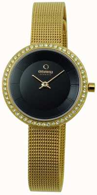 Obaku Women's 27mm Gold-Tone Steel Bracelet & Case Quartz V146LGBMG2