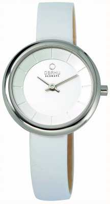 Obaku Womens Stille White Dial White Leather Strap V146LCIRW