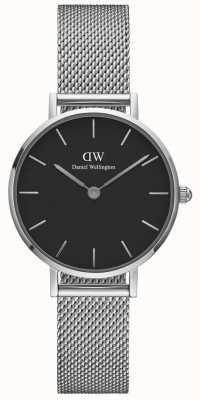 Daniel Wellington Womens Petite 28mm Sterling Silver Black DW00100218
