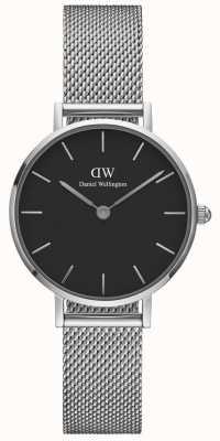 Daniel Wellington Womens Petite 28mm Sterling Silver Black DW00100218