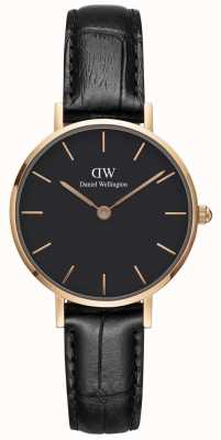 Daniel Wellington Womens Petite 28mm Reading Rose Gold Black DW00100223