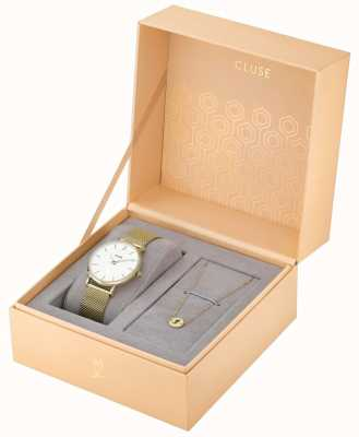 CLUSE Minuit Heart Gold Mesh Watch And Bracelet Gift Box CLG012