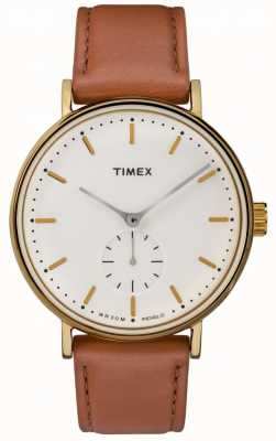 Timex Fairfield Gold Case Cream Dial Brown Strap TW2R37900