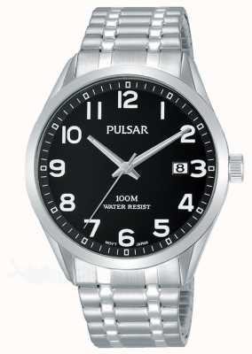 Pulsar Men's Black Dial Stainless Steel Expanding Bracelet PS9563X1