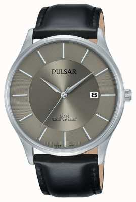 Pulsar Black Leather Strap Stainless Steel Case Date Display PS9545X1