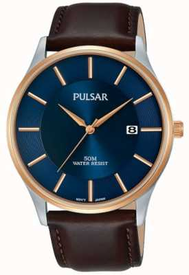 Pulsar Mens Rose Gold Plated Case Black Leather Strap Blue Dial PS9546X1