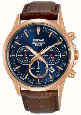 Pulsar Brown Leather Strap Rose Gold Case Blue Dial Chrono PT3922X1