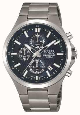 Pulsar Mens Titanium Bracelet Blue Chronograph Dial PM3109X1