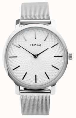 Timex 34mm Silver Mesh Bracelet/Silver Dial TW2R36200