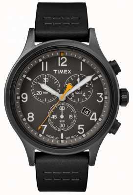Timex Allied Chrono Black Leather Strap/Black Dial TW2R47500