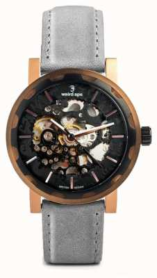 Weird Ape Kolt Automatic Slate Grey Leather Black Rose Gold IP Case WA02-005524