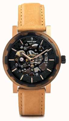 Weird Ape Kolt Automatic Tan Leather Strap Black Rose Gold IP Case WA02-005540