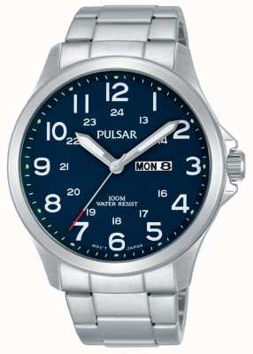 Pulsar Mens Stainless Steel Bracelet Blue Dial Day Date PJ6095X1