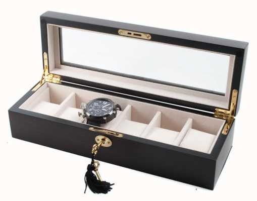 AXIS Ebony Matt Wooden Storage Watch Box For 6 Watches AXSW-1087-6E
