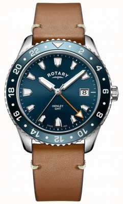 e53e17cd0c3d Rotary Mens henley GMT brown leather blue dial watch GS05108 05