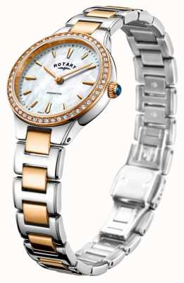 Rotary Women's Kensington Rose Gold Tone Two Stone Set LB05276/41