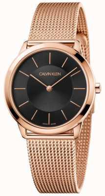 Calvin Klein Ladies Minimal Rose Gold Mesh Bracelet Black Dial K3M2262Y