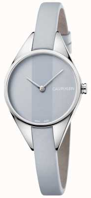 Calvin Klein Ladies Rebel Grey Leather Strap Grey Dial K8P231Q4