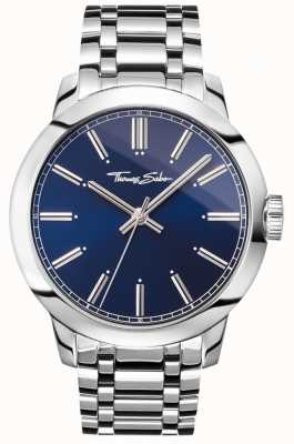 34b405af309c Thomas Sabo Mens Rebel At Heart Watch Stainless Steel Bracelet Blue Dial  WA0310-201-