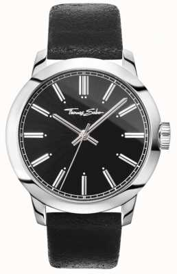Thomas Sabo Mens Rebel At Heart Watch Black Leather Strap Black Dial WA0312-203-203-46