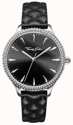 Thomas Sabo Womens Rebel At Heart Watch Black Leather Strap Black Dial WA0322-221-203-38
