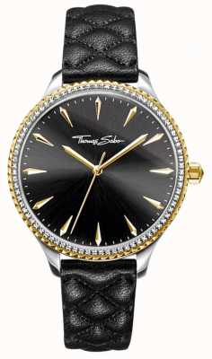 Thomas Sabo Womens Rebel At Heart Watch Black Leather Strap Black Dial WA0323-221-203-38