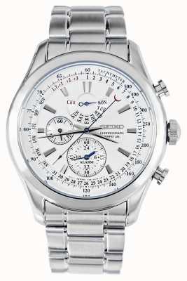 Seiko Alarm Chronograph Watch Silver Bracelet White Dial SPC123P1