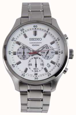 Seiko Seiko Mens Sports Chrono Watch Silver Bracelet White Dial SKS583P1