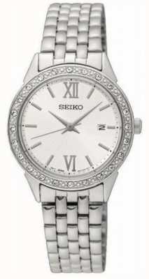 Seiko Seiko Ladies Silver Metal Bracelet White Dial SUR695P1