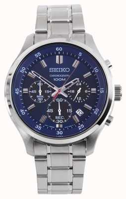 Seiko Mens Sprts Chrono Watch Silver Bracelet Blue Dial SKS585P1