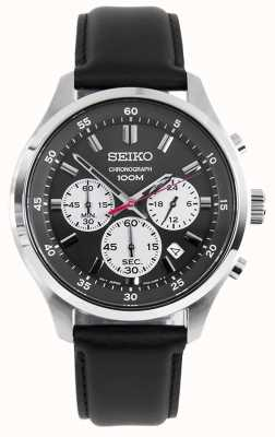 Seiko Mens Chronograph Sports Watch Black Leather Strap Black Dial SKS595P1