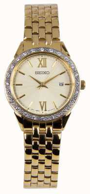 Seiko Ladies Watch Gold Bracelet Gold Dial SUR688P1