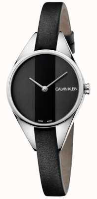 Calvin Klein Ladies Rebel Black Leather Thin Strap Watch K8P231C1