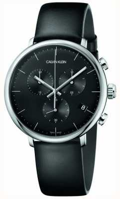 Calvin Klein Mens High Noon Black Leather Strap Chronograph Watch K8M271C1