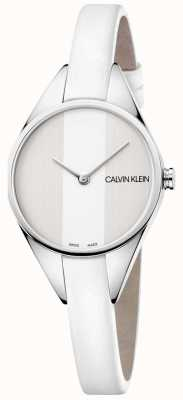 Calvin Klein Ladies Rebel White Leather Thin Strap Watch K8P231L6