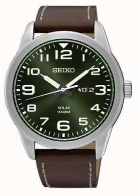 Seiko Mens Watch Brown Strap Green Dial SNE473P1