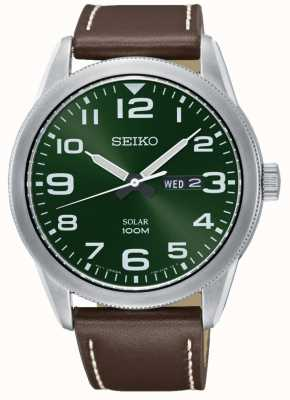Seiko Mens Watch Brown Strap Green Dial SNE473P1