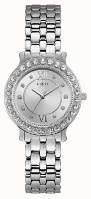 Guess Blush Womens Dress Analogue Silver Round W1062L1