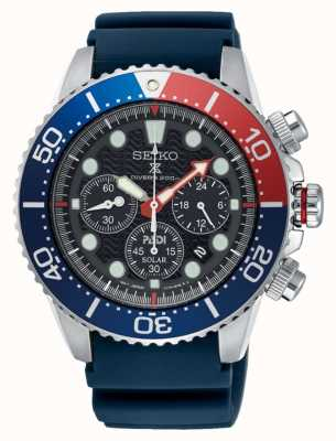 Seiko Men PADI Prospex Solar Powered Chronograph Watch Blue Strap SSC663P1