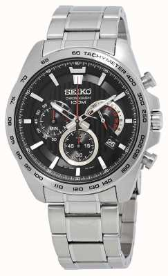 Seiko Mens Chronograph Watch Silver Bracelet Black Dial SSB299P1